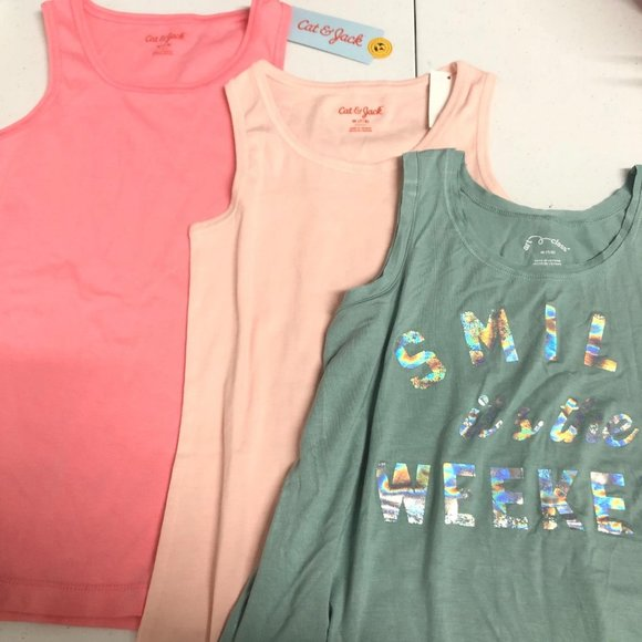Lot of 3 Girls' M Tank Tops Green & Pink